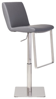 Lewis Adjustable Stool Seat Gray Base Brushed Silver Material Naugahyde