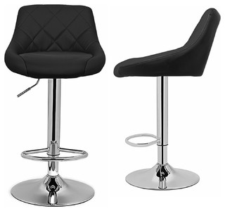 Model Bar Stools Chair Dining Counter Bar Set of 2 Faux Leather Black