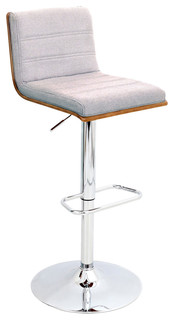 Vasari Height Adjustable Barstool With Swivel Walnut Wood Gray Fabric Seat