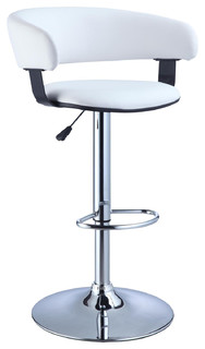 Faux Leather Barrel and Chrome Adjustable Height Bar Stool White