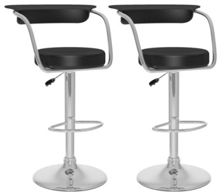Open Back Adjustable Bar Stool Black Leatherette Set of 2