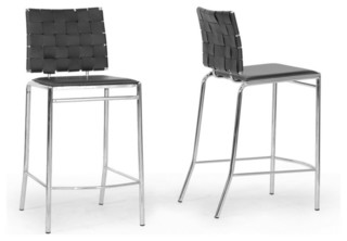 Vittoria Leather Modern Counter Stools Set of 2 Black