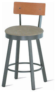 Amisco Lauren Swivel Stool with Wood Backrest 40293 26 quot Counter Height