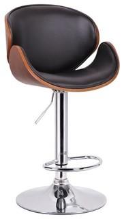 Baxton Studio Crocus Walnut and Black Modern Bar Stool