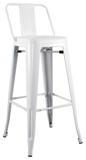 Vintage Bar Stool White High Back
