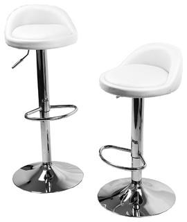 Round Seat Swivel Kitchen Dinning Counter Adjustable Barstool Set of 2 White