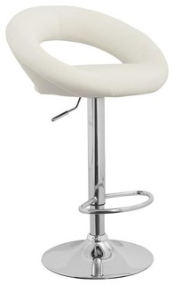 Bar Stools With Crescent Back White Set of 2