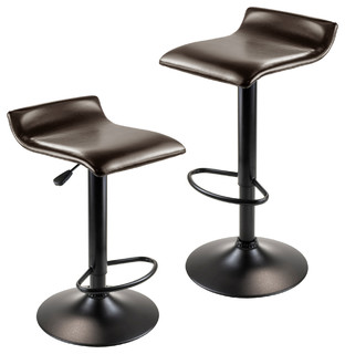 Paris Airlift Adjustable Swivel Stools Set of 2 Leather Seat Black