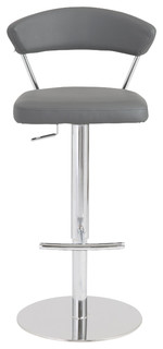 Draco Adjustable Bar and Counter Stool Gray Chrome
