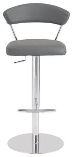Draco Adjustable Bar and Counter Stool Gray Chrome