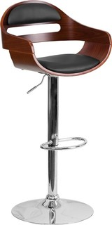 Estella Low Back Walnut Adjustable Bar Counter Stool w Cutout Back Black Vinyl