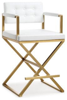 Director Gold Steel Counter Stool White