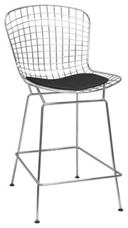 Chrome Wire Counter Height Stools for Bar Black