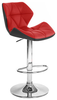 Spyder Contemporary Adjustable Bar Stool Black Red