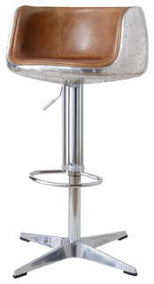 Aviator Leather and Metal Adjustable Bar Stool