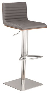 Armen Living Cafe Adjustable Stainless Barstool Walnut Back