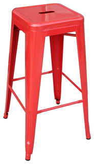 Loft Metal Stool Red Bar Height