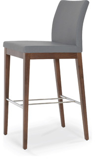 Aria Wood Bar Stool Solid Beech Walnut Color Gray Seat PPM