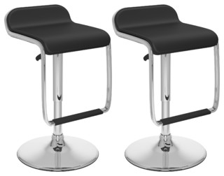 Adjustable Bar Stool With Footrest Black Leatherette Set of 2