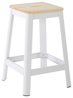 Hammond 26 quot Metal Barstool With Lightwood Seat Frosted White