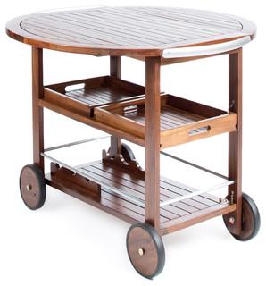 Cyndy Farmhouse Cottage Dark Oak Acacia Wood Bar Cart