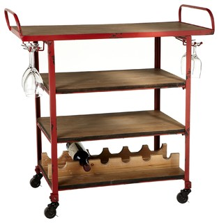 Firehouse 4 Tiered Bar Cart Distressed Red