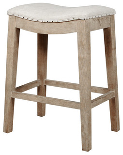 Barwick Oak Counter Stool With Nailhead Trim Stone Wash