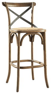 Barrow Steam Bent Bar Stool With Padded Woven Rattan Seat 26 quot Counter Height