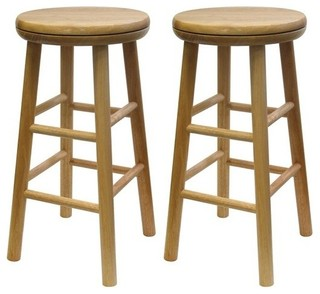 Oakley 2 Pc 24 quot Swivel Seat Bar Stool Set Beech