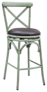 Classic X Back Design With Farmhouse Bar Stool With Green