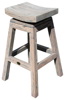 Rustic Teak Vessel Bar Stool