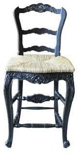 Counter Stool Antiqued Blackwash Black