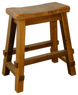 Rustic Reclaimed Barn Wood Counter Height Saddle Stool