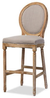 Louis French Cottage Weathered Oak Beige Fabric Upholstered Barstool