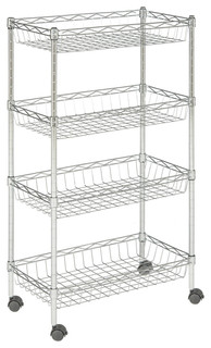 happimess Grove 4 Shelf 47 quot Basket Rack with Casters Chrome