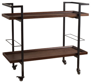 Gerard Industrial Finished Wooden Bar Cart Dark Walnut