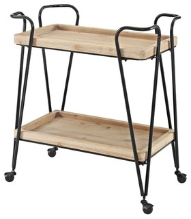 Midcentury Bar Cart Matte Black