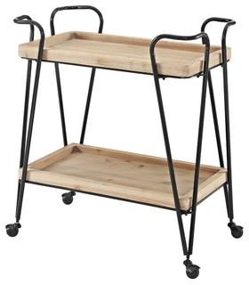 Midcentury Bar Cart Matte Black