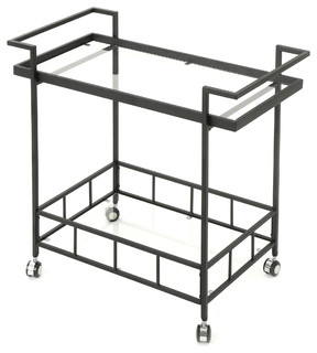 Selma Outdoor Industrial Black Powder Coated Iron Bar Cart With Tempered Glass