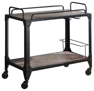 1PerfectChoice Caitlin Serving Cart Rustic Oak and Black Finish