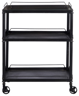 Mirrored Tray Top Metal Bar Cart