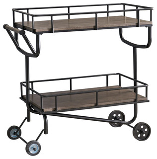Alice Industrial Faux Wood Bar Cart With Iron Frame Gray Black