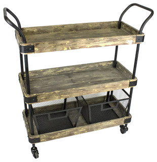 Industrial Style 3 Tiered Bar Cart With 2 Baskets Black Brown