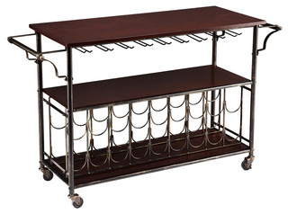 Cart With Storage Shelf and Wooden Top Espresso
