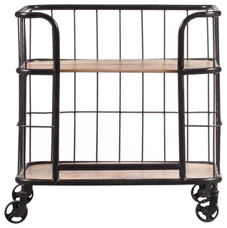 Industrial Wood amp Metal Trolley Bar Cart