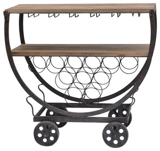 Crestview Wine Rack Cart Fir Wood and Iron Finish