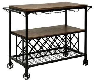 Furniture of America Silvia Industrial Bar Cart Medium Oak