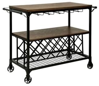 Furniture of America Silvia Industrial Bar Cart Medium Oak