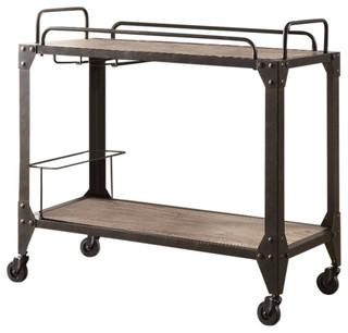 Metal and Wood Serving Cart Rustic Oak and Black