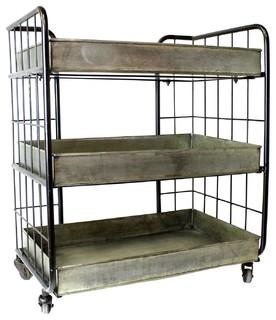 Galvanized Metal Iron Rustic Trolley Serving Bar Cart Garden